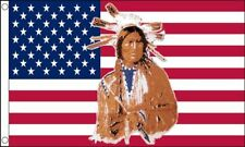 5' x 3' USA Indian Flag Apache Cherokee US America American Banner