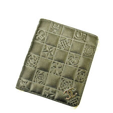 Auth Chanel Folded Wallet Icon Ladies used J5395