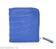 ALEXANDER McQUEEN MEN'S RIBCAGE BLUE LEATHER ZIP WALLET BNWT
