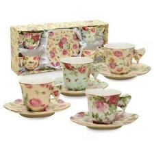 Gracie China Rose Chintz 2-Ounce Porcelain Espresso Cup and Saucer with New