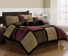 Microsuede Brown Burgundy Black Patchwork 7-Piece Comforter Set, Full