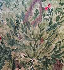 CLARENCE HOUSE Henri II tapestry Belgium linen cotton green remnant new