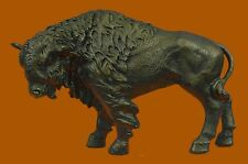 Buffalo Bison Western Native American Art 100% Bronze on Marble Statue Sculpture