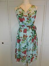 ANTHROPOLOGIE TABITHA Vintage Inspired BLUE Multicolor Floral Silk Dress, 2, XS
