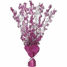 """16"""" Happy 90th Birthday Pink Sparkle Foil Weight Table Centerpiece Decoration"""