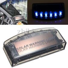 Auto Solar Charger 6 LED Car Alarm Warning Blue Light Flash Lamp Sensor Security