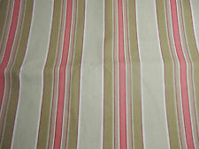 HOME DECOR CORAL GREEN IVORY UNEVEN STRIPE UPHOLSTERY FABRIC-END OF BOLT SALE