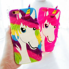 3D Cartoon Colorful Unicorn Rubber Soft Case Cover for iPhone 4S 5S 6 6S Plus