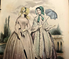 LE FOLLET 1845 Hand-Colored Fashion Plate #1246 Women w/ Parasols ORIG.PRINT