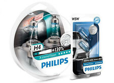 (+ W5W Parkers!) H4 PHILIPS Xtreme Vision 3700K 130+% Genuine White Light Bulbs