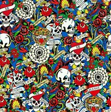 Fat Quarter Ed Hardy Love is True Skulls Blue Grey Quilting Cotton Craft FQ