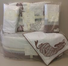 NIP 5P Pottery Barn Kids ZEBRA SAFARI Bumper Quilt Bed Skirt Sham Sheet Crib Set