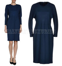 FENDI DRESS LONG SLEEVES BLUE WOOL ROUND COLLAR sz 48FR US 16