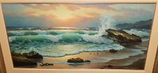 ANTON GUTKNECHT SUNSET SEASCAPE HUGE ORIGINAL OIL ON CANVAS PAINTING LISTED ART