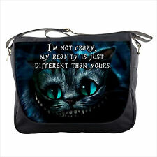 Cheshire Cat Quote Alice in Wonderland movie messenger bag shoulder sling flap 1