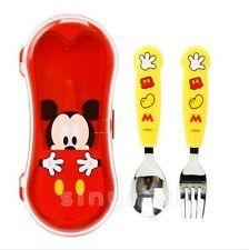 Lilfang Kids Toddler Pretty Disney Mickey Child Fork and Spoon Case Set