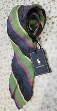 "BNWT POLO by Ralph Lauren Men's ""The Polo Tie"" Green/Blue/Wt Stripes MSRP $115"