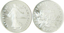 5  FRANCS  SEMEUSE  2001  ,  ARGENT  BE  , FLEUR  DE  COIN    CAPSULE  D'ORIGINE