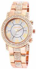 Excellanc Reloj De Mujer Rosado Oro con Strass, Pulsera acero inoxidable, chick
