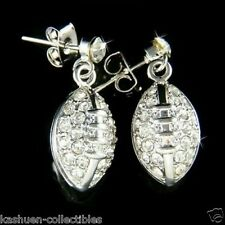 w Swarovski Crystal Gridiron ~3D American Football League Team Post Earrings New