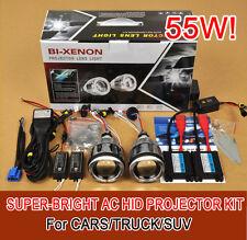 "3.0"" Universal Car Headlights HID Bi-Xenon Projector Lens Kit Halo Angel Eye 55W"