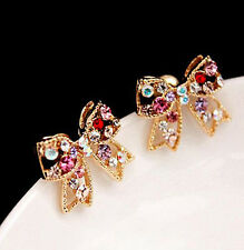 2015 Women Colorful Crystal CO Gold Bowknot Bow Chic AG Stud Earrings