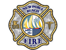 4x4 inch NEWPORT BEACH Fire Maltese Sticker - decal logo california firefighter