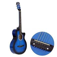 "38"" Acoustic Folk 6-String Guitar for Beginners Students Gift Blue L5E8"