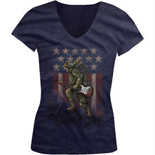 Soldier Holding Guitar And Amp Rock Music USA Pride Flag Juniors V-neck T-shirt