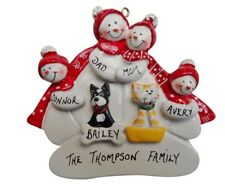 Personalized Snowman Family of 4 with 2 Dogs or Cats Christmas Ornament