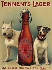 Tennent's Lager Beer, Dogs, Vintage Pub, Bar, Hotel, Beer, Small Metal/Tin Sign