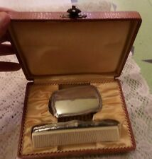Antique Vanity Sterling Silver Brush and Comb Set in Box Art Deco English Silver