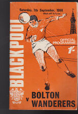 Blackpool FC Football Program September 7 1968 v Bolton Wanderers