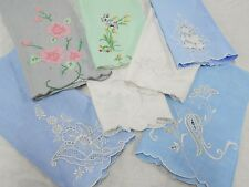 Lot of 7 Vintage Antique MADEIRA EMBROIDERED LINEN Guest Tea Hand Towels