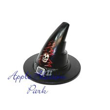 NEW Lego Black Castle WIZARD WITCH MINIFIG HAT w/Skeleton Skull Head & Red Bolt