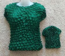 Popcorn Blouse , Gourmet Popcorn top - short sleeve, Elastic Fashion shirt-Green