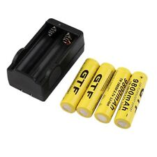 4pcs 18650 3.7V 9800mAh Rechargeable Li-ion Battery + Charger For Flashlight CA