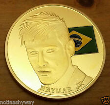Neymar Gold Coin Brazil Flag FIFA World Cup 2014 Footballer Soccer Star Latino