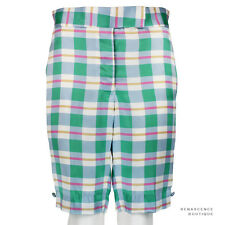Thom Browne Pastel Blue Green Pink Silk Satin Tailored-Fit Shorts Size 2 UK10