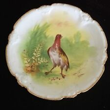 """Coronet Limoges 8 3/4"""" game plate gold trim colorful bird artist signed Rare"""