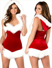 Women Sexy Christmas Santa Costume Dress & Hood Outfit Xmas Party Fancy Dress