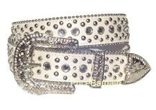 Women Western Rhinestone Bling Crystal Stud Snap On Buckle White Leather Belt M
