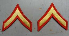 PAIR - MARINE CORPS PFC SLEEVE RANK - MALE - GOLD ON RED   #USP1025