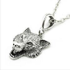 Men Silver Bronze Alloy Wolf Head Pendant Chain Necklace Fashion Retro