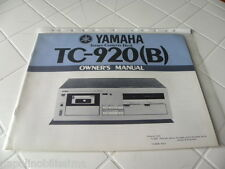 Yamaha TC-920 (B) Owner's Manual  Operating Instructions Istruzioni New