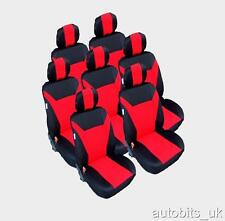 SET COMPLETO ROSSO 7X TESSUTO SEAT COPERTURE PER 7 POSTI AUTO MPV VAN