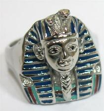 KING TUT PHARAOH STAINLESS STEEL RING size 8 silver metal S-508 unisex EGYPTIAN