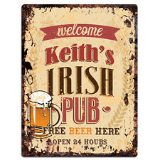PMBP0059 KEITH'S IRISH PUB Rustic tin Sign PUB Bar Man cave Decor Gift
