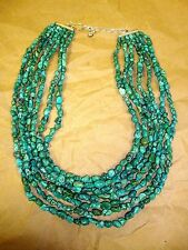 """""""JAY KING MINE FINDS"""" 7-STRAND 925 GREEN TURQUOISE NUGGETS 9"""" - 12"""" BIB NECKLACE"""