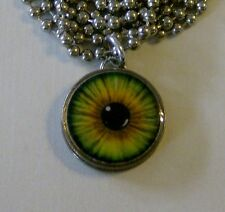 "Genuine U.S. Dime Pendant GREEN EYE Charm with 24"" Chain Necklace Eyeball"
